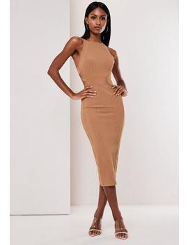 Premium Camel High Neck Bandage Midi Dress by Missguided