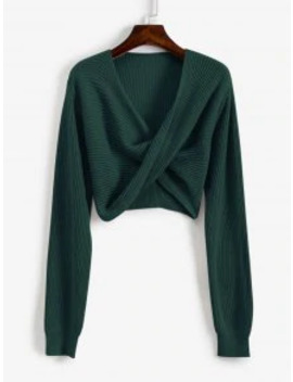 V Neck Cropped Twist Front Sweater   Green M by Zaful