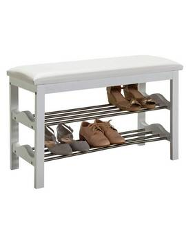 Argos Home Emilia 2 Shelf Shoe Rack   White & Chrome852/7413 by Argos