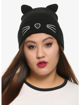 Black Cat Watchman Beanie by Hot Topic