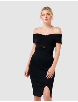 Luna Cross Front Bardot Knit Dress by Forever New