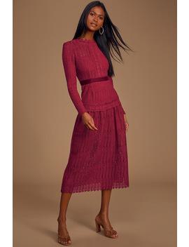 Always Love You Wine Red Crochet Lace Long Sleeve Midi Dress by Lulus