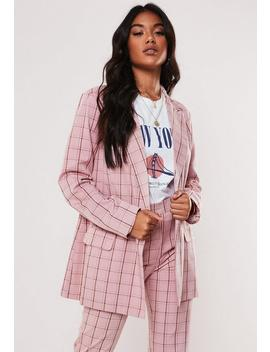 Pink Co Ord Check Oversized Blazer by Missguided