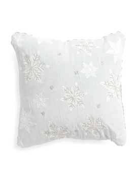 Made In India 16x16 Velvet Snowflake Pillow by Tj Maxx
