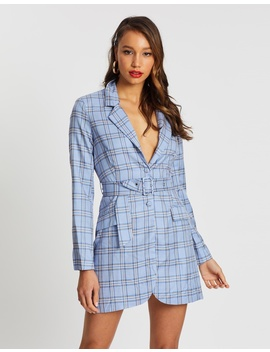 Buckle Belted Check Blazer Dress by Missguided
