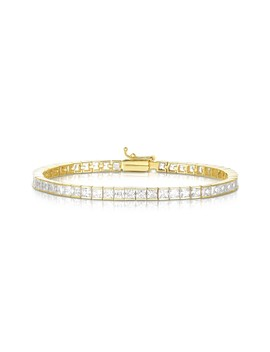 18 K Yellow Gold Plated Sterling Silver Princess Cut Cz Tennis Bracelet by Sphera Milano