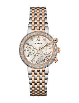 Women's Diamond Accented Analog Quartz Two Tone Bracelet Watch, 30mm   0.10 Ctw by Bulova