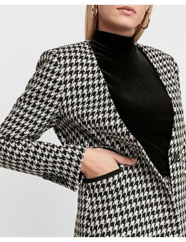 Houndstooth Collarless One Button Blazer by Express