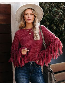 Bowman Fringe Knit Sweater   Clay by Vici