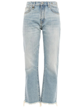 Tilly Cropped Frayed High Rise Straight Leg Jeans by R13