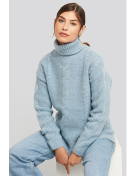 Wool Blend Cable Knitted Sweater Bleu by Na Kd