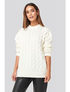 Cable Knitted Oversized Sweater Blanc by Na Kd