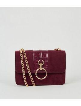Burgundy Suedette Faux Croc Shoulder Bag by New Look