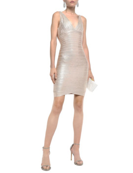 Metallic Coated Bandage Mini Dress by HervÉ LÉger