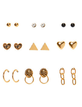 Mixed Gold Earrings   9 Pack by Claire's