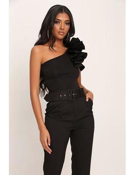 Black Scuba Ruffle One Shoulder Bodysuit by I Saw It First