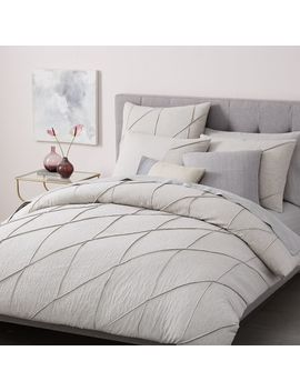 Pleated Grid Duvet Cover + Shams – Light Gray by West Elm