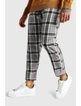 Large Scale Check Cropped Smart Jogger Trouser by Boohoo Man