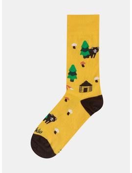 Hořčicové Vzorované Ponožky Fusakle Na Lazoch by Fusakle
