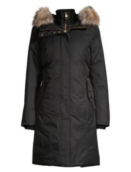 Harlowe Coyote Fur Trim Hooded Down Coat by Mackage