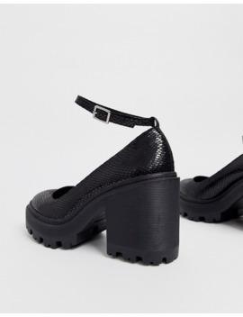 Asos Design   Summit   Chaussures à Gros Talons Et Effet Peau De Serpent   Noir by Asos Design