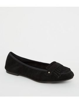 Wide Fit Black Suede Fringe Loafers by New Look