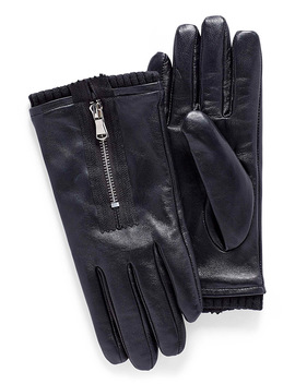 Accent Zip Leather Gloves by Le 31