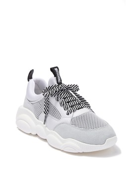 Logo Mesh Exaggerated Sole Sneaker by Moschino