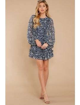 Timeless Grace Navy Multi Floral Print Dress by One And Only Collective
