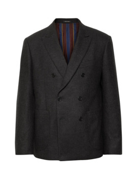 Dark Grey Double Breasted Checked Wool And Cashmere Blend Blazer by Mr Porter