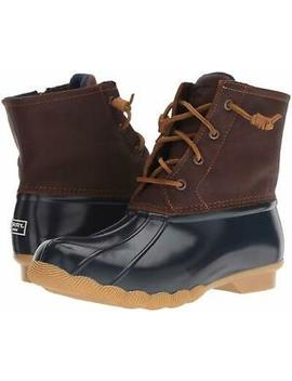 Sperry Women's Saltwater Lace Up Rain Duck Boots Tan/Navy by Sperry