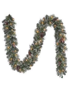 9 Ft. Pre Lit Artificial Sparkling Amelia Pine Christmas Garland With 120 Tips And 50 Clear Lights by Home Accents Holiday
