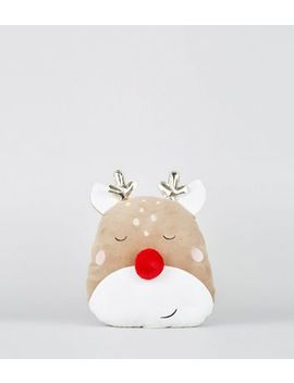 Brown Super Soft Reindeer Christmas Cushion by New Look