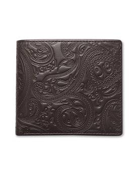 Paisley Embossed Leather Bi Fold Wallet by Pretty Green