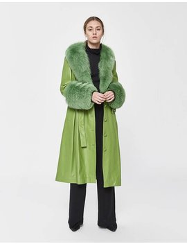 Foxy Leather Coat In Forest by Saks Potts Saks Potts
