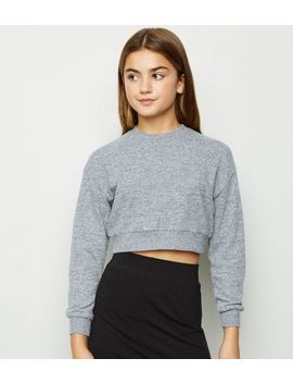 Girls Grey Brushed Boxy Jumper by New Look