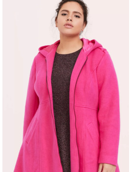 Neon Pink Hacci Hooded Fit & Flare Coat by Torrid