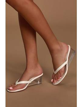 Lulu White Lucite Wedges by Steven