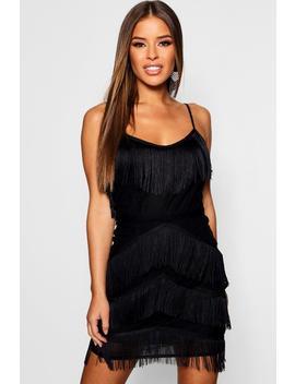 Petite Premium All Over Tassel Bodycon Mini Dress by Boohoo