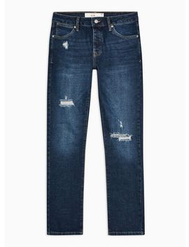 Dark Wash Ripped Stretch Slim Jeans by Topman