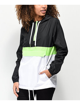 Zine Neve Safety Green, Black & White Anorak Jacket by Zumiez