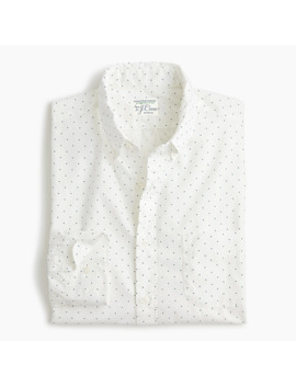 Slim Stretch Secret Wash Shirt In Organic Cotton Mini Dots by J.Crew