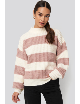 Striped Oversized Knitted Sweater White by Queenofjetlagsxnakd