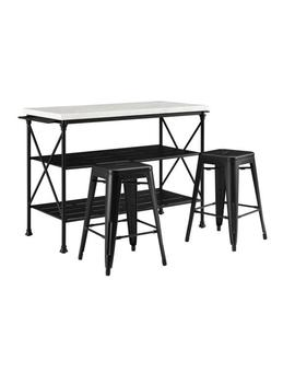 Madeleine Black Kitchen Island With Stools by Crosley Furniture