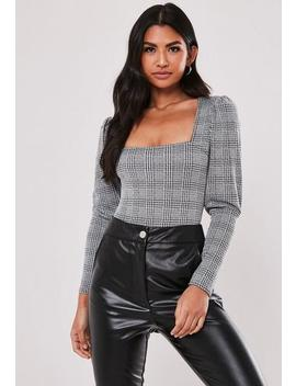 Grey Check Print Milkmaid Puff Sleeve Bodysuit by Missguided