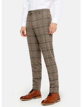 Heritage Brown Check Skinny Fit Suit Trousers by Topman