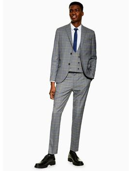 Grey Check Skinny Fit Suit Trousers by Topman