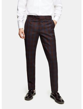 Harry Brown Navy And Burgundy Check Slim Fit Suit Trousers by Topman