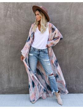 Quaint Clouds Tie Dye Duster Kimono   Final Sale by Vici