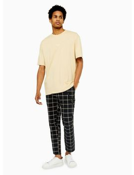 Black And Yellow Check Trousers With Chain by Topman